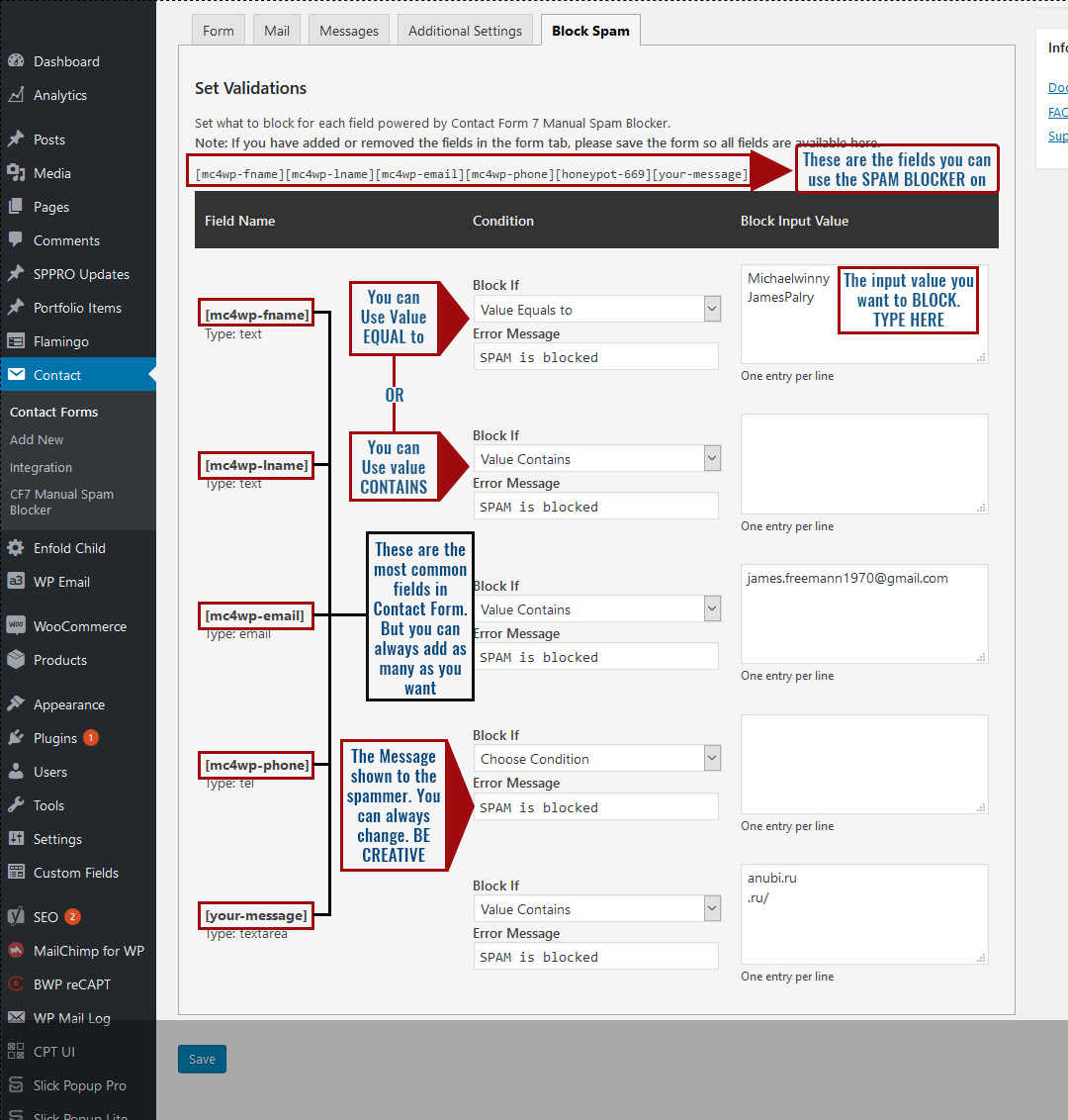 Contact Form 7 Manual Spam Blocker - 1