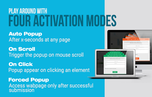 Slick popup plugin activation modes