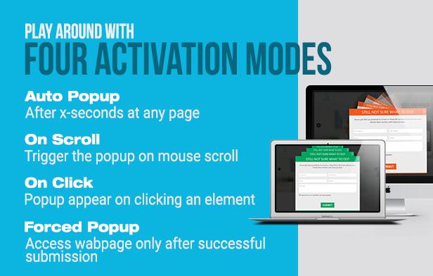 Slick popup plugin activation modes
