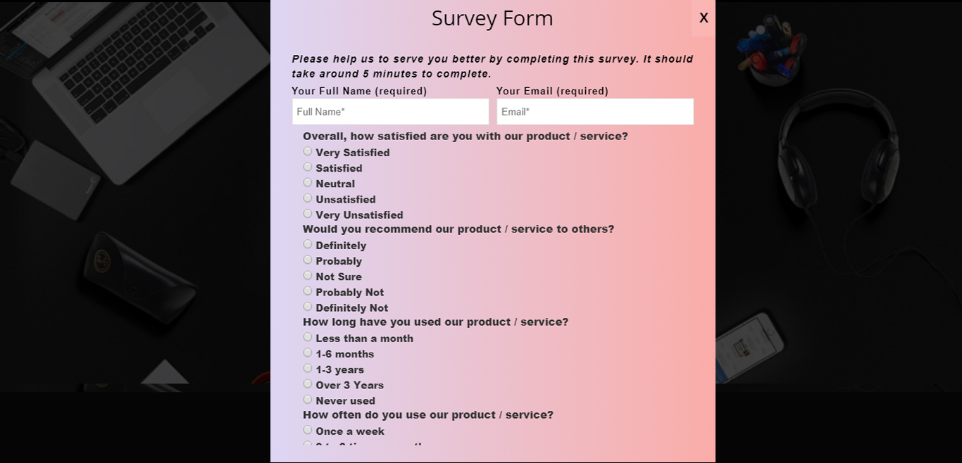 Survey Form Popup Demo