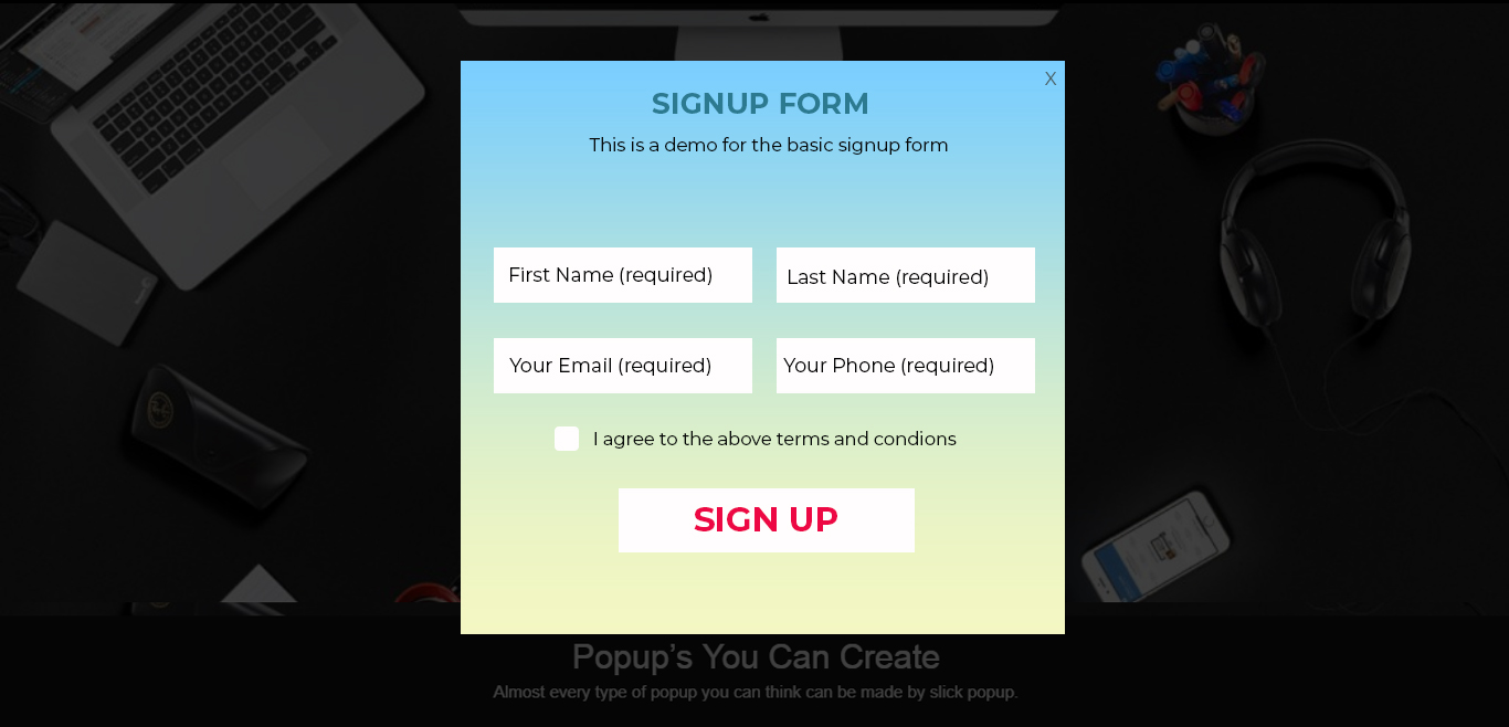 Sign Up Form Popup Demo